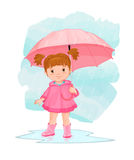 Cartoon image of little girl with umbrella standing in the rain in a puddle in the sky. Royalty Free Stock Photos