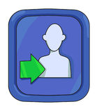 Cartoon image of Login Icon. Approach symbol. An artistic freehand picture Stock Photos