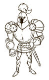 Cartoon image of medieval knight Royalty Free Stock Photography