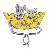 Cartoon image of mice with cheese Royalty Free Stock Photos