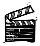 Cartoon image of Movie clapper Icon. Clapperboard symbol. An artistic freehand picture Stock Photo