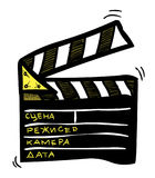 Cartoon image of Movie clapper Icon. Clapperboard symbol. An artistic freehand picture Royalty Free Stock Photo