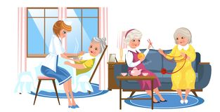 Cartoon image of nice old people resting in rooms. Lovely ladies getting care of their health and having fun knitting scarf vector illustration. Nursing home royalty free illustration