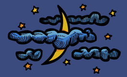 Cartoon image of Night Icon. Nighttime symbol. An artistic freehand picture Royalty Free Stock Photography