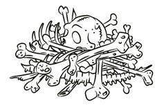 Cartoon image of pile of bones stock illustration