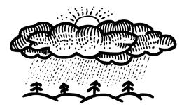 Cartoon image of Rain Icon. Rainfall symbol. An artistic freehand picture Stock Photography