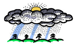 Cartoon image of Rain Icon. Rainfall symbol. An artistic freehand picture Stock Photos