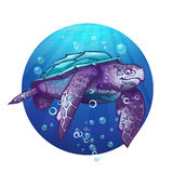 Cartoon image of a sea turtle Stock Photo