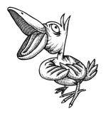 Cartoon image of singing bird Royalty Free Stock Photography