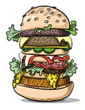 Cartoon image of tasty burger. An artistic freehand picture Royalty Free Stock Images