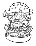 Cartoon image of tasty burger. An artistic freehand picture Stock Photo