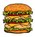Cartoon image of tasty burger Stock Photography