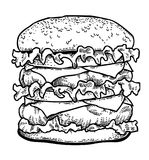 Cartoon image of tasty burger Stock Images