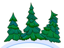 Cartoon image of three conifers on white-blue snowdrifts. Royalty Free Stock Image