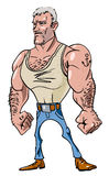 Cartoon image of tough man. An artistic freehand picture Stock Photography