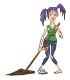 Cartoon image of undead monster lady cleaning. An artistic freehand picture Royalty Free Stock Image