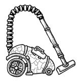 Cartoon image of vacuum cleaner. An artistic freehand picture Royalty Free Stock Photo