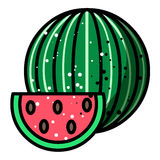 Cartoon image of Watermelon Icon. Summer symbol Royalty Free Stock Images