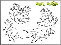 Cartoon images of little cute dinosaurs Stock Photos