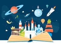 Cartoon Imagination Concept Card Poster Open Book. Vector. Cartoon Imagination Concept Card Poster Open Book Element Flat Design Style Include of Rocket, Sky stock illustration