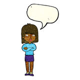 Cartoon impatient woman with speech bubble Royalty Free Stock Photo