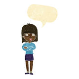 Cartoon impatient woman with speech bubble Royalty Free Stock Photography