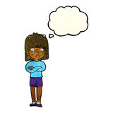Cartoon impatient woman with thought bubble Royalty Free Stock Images