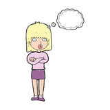 Cartoon impatient woman with thought bubble Stock Images