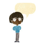 Cartoon impressed boy with speech bubble Royalty Free Stock Photos