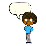 Cartoon impressed boy with speech bubble Stock Images