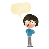 Cartoon impressed boy with speech bubble Royalty Free Stock Photo