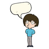 Cartoon impressed boy with speech bubble Royalty Free Stock Images