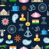 Cartoon India Seamless Pattern Background. Vector Royalty Free Stock Images