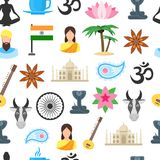 Cartoon India Seamless Pattern Background. Vector Stock Photos