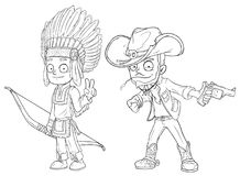 Cartoon indian boy with bow cowboy with gun character vector set Royalty Free Stock Photo