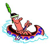 Cartoon Indian in a canoe. Cartoon Indian paddling a canoe, white background Royalty Free Stock Images