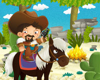 Cartoon indian characters near the fire in the wilderness - cowboy on horse standing in front of the stage. Beautiful and colorful illustration for the children Royalty Free Stock Photography