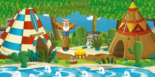 Cartoon indian characters near their tee pee in the wilderness - woman near totem Royalty Free Stock Photography