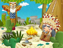 Cartoon indian chief is sitting by the fire near the tee pee. Beautiful and colorful illustration for the children - for different usage - for fairy tales Royalty Free Stock Images
