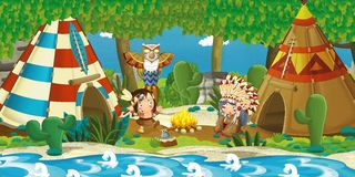 Cartoon indian chief is sitting by the fire near the tee pee and listening to some story from indian boy. Beautiful and colorful illustration for the children Royalty Free Stock Images