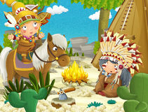 Cartoon indian chief is sitting by the fire near the tee pee and listening to some story from indian girl on a horse. Beautiful and colorful illustration for the Stock Photography