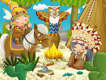 Cartoon indian chief is sitting by the fire near the tee pee and listening to some story from indian girl on a horse. Beautiful and colorful illustration for the Royalty Free Stock Photos