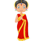 Cartoon Indian girl wearing traditional dress royalty free illustration