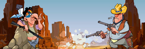 Cartoon Indian with a gun and a cowboy with revolvers in stone canyon Royalty Free Stock Photo