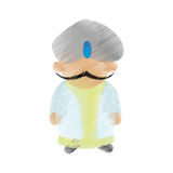 Cartoon indian man with mustache turban dhoti Royalty Free Stock Image