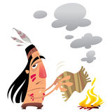 Cartoon indian man sending a message with smoke signals. Cartoon indian man sending a message by smoke signals moving a small carpet over a fire Royalty Free Stock Photos