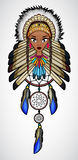 Cartoon of Indian Native American Girl with dream catcher Royalty Free Stock Image