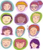 Cartoon individuals. Cool set of human cartoon individuals Stock Photography