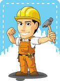 Cartoon of Industrial Construction Worker. A vector image of a male construction worker holding hammer. Drawn in cartoon style, this vector is very good for Royalty Free Stock Photo