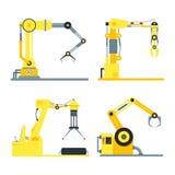 Cartoon Industrial Technology Robotic Arm Set. Vector Royalty Free Stock Image